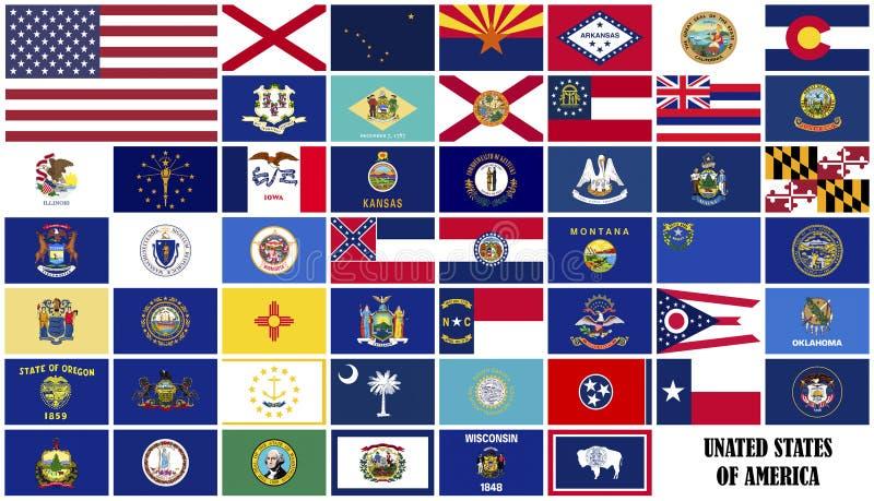 Arten der Flagge von Amerika stock abbildung