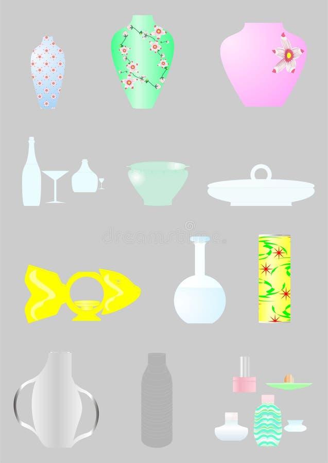 Arten des Kochgeschirrs und der Geräte. lizenzfreie abbildung
