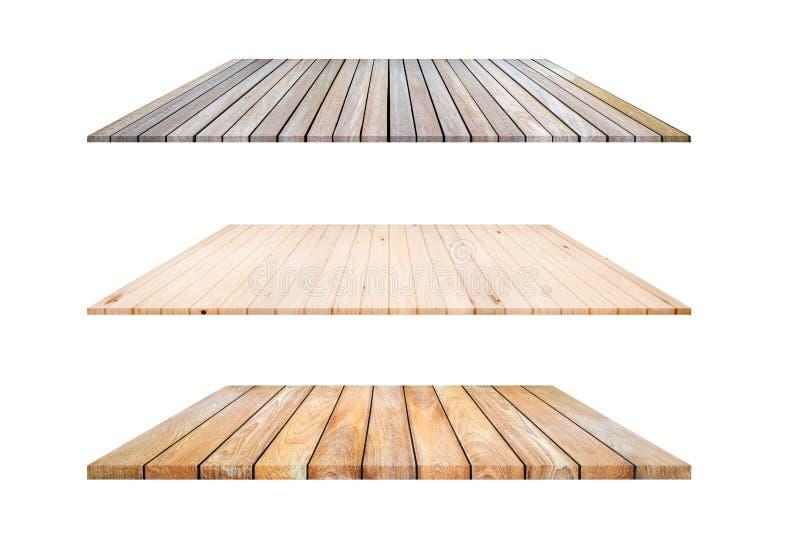 3 Arten hölzerne Plankenregale und weißer Hintergrund, für Produktdi lizenzfreies stockfoto