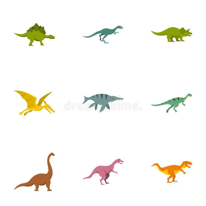 Arten von Dinosaurierikonen stellten, flache Art ein vektor abbildung