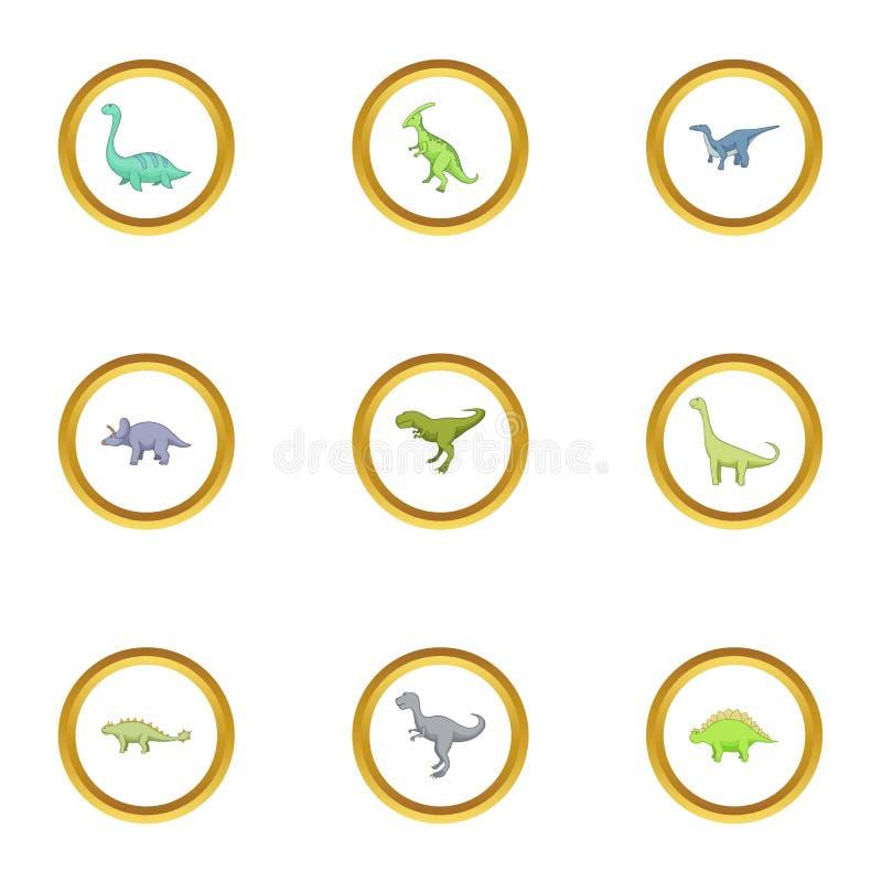 Arten von Dinosaurierikonen stellten, Karikaturart ein vektor abbildung
