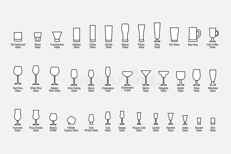 Arten von Gläsern mit Namen, Linie Ikonen eingestellt Auch im corel abgehobenen Betrag vektor abbildung