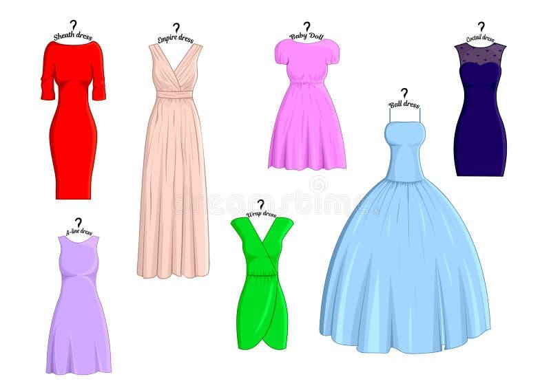 Arten von Kleidern vektor abbildung. Illustration von frauen - 77402950