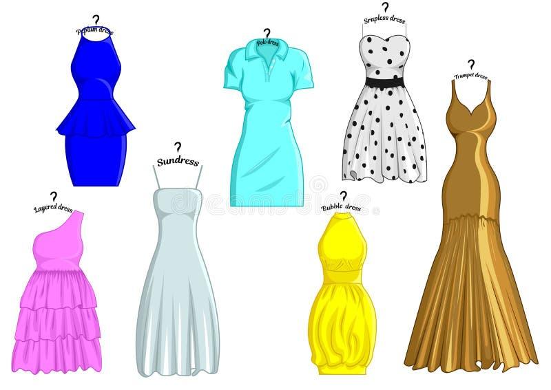 Arten von Kleidern vektor abbildung. Illustration von material ...