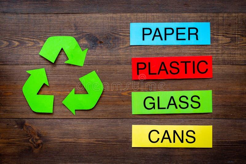 Arten von matherial für reycle und Wiederverwendung Druckwörter Plastik, Glas Dosen, nahes eco Plastiksymbol bereiten Pfeile an a stockbild