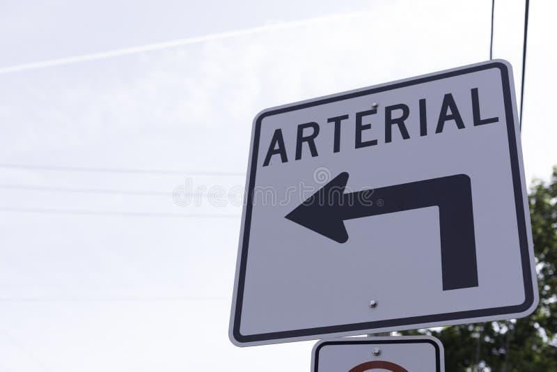 Arterialny znak zdjęcia royalty free