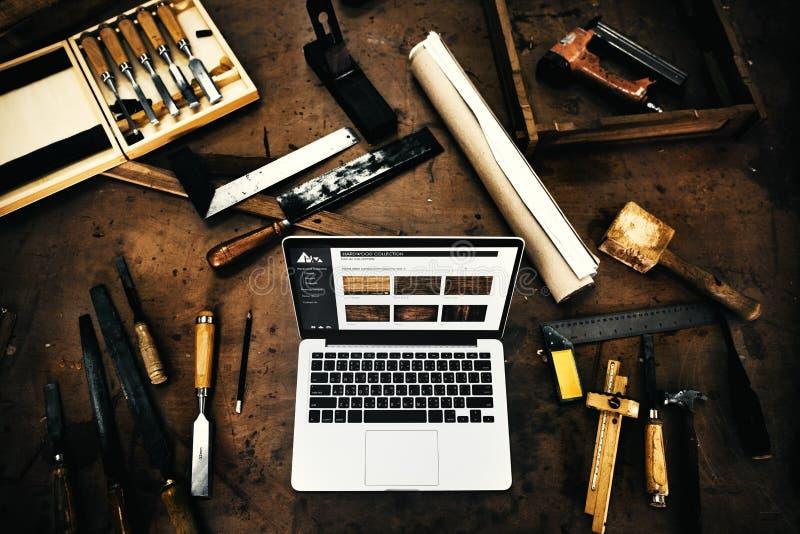 Artesão Concept da experiência da oficina da madeira da carpintaria fotografia de stock