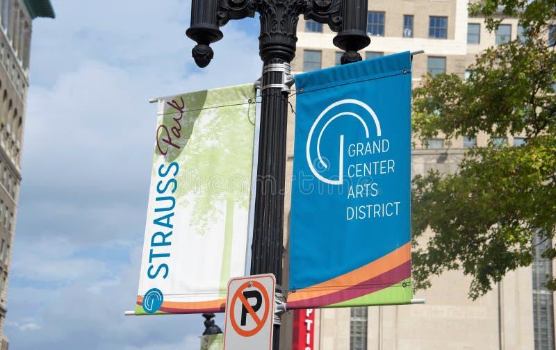 Artes de centro magníficos distrito, St. Louis, Missouri del parque de Strauss fotografía de archivo