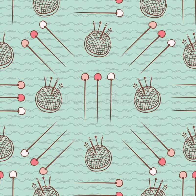Artes de costura de la mano del modelo inconsútil de Pin Cushion Needles ilustración del vector