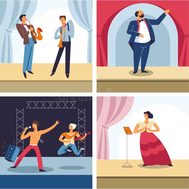 Artes de palco, jazz, teatro, rocha e executores na fase, gênero diferentes da ópera ilustração do vetor