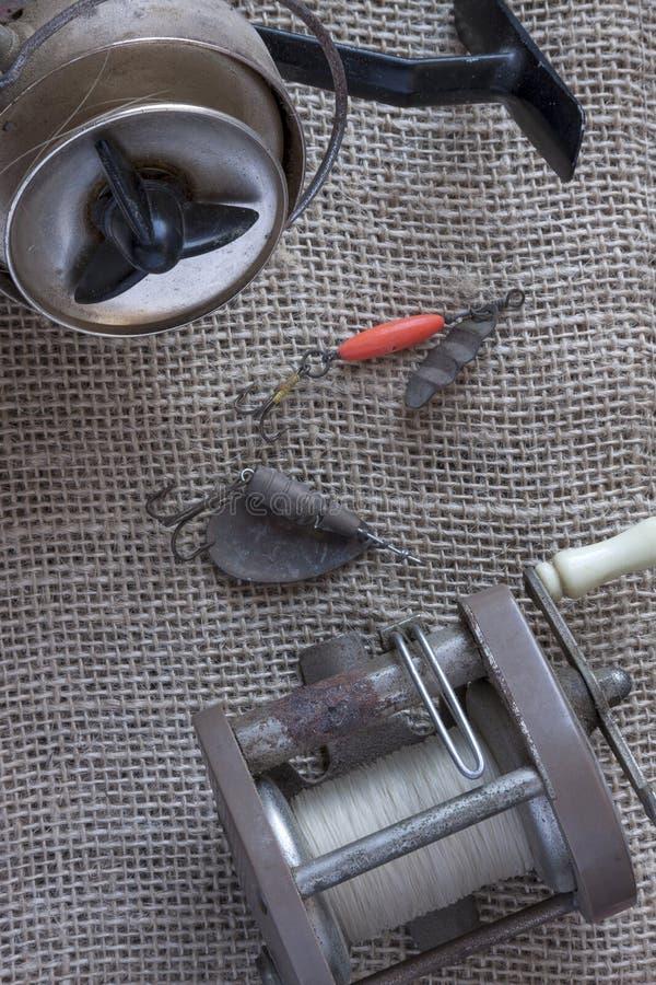 Artes de pesca del vintage imagen de archivo libre de regalías