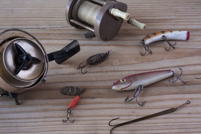 Artes de pesca del vintage imagenes de archivo