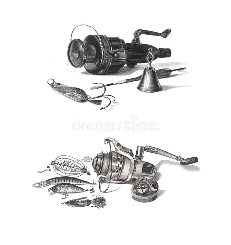 Artes de pesca maravillosamente a mano aisladas en blanco Carrete de la pesca, campana, flotadores, ganchos, cebo fotografía de archivo libre de regalías