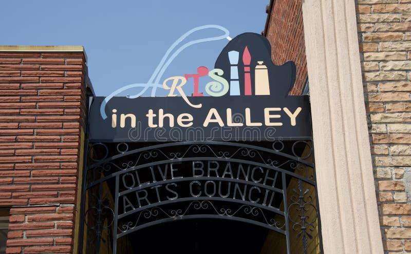 Artes en el callejón Olive Branch Arts Council, Mississippi imagen de archivo libre de regalías