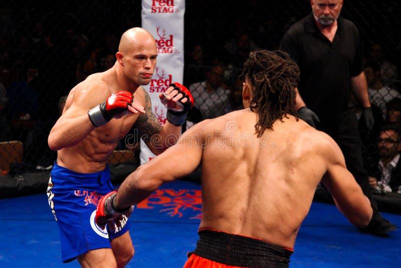 Artes marciais misturadas de Mike Campell v. Jeff Anderson imagens de stock royalty free