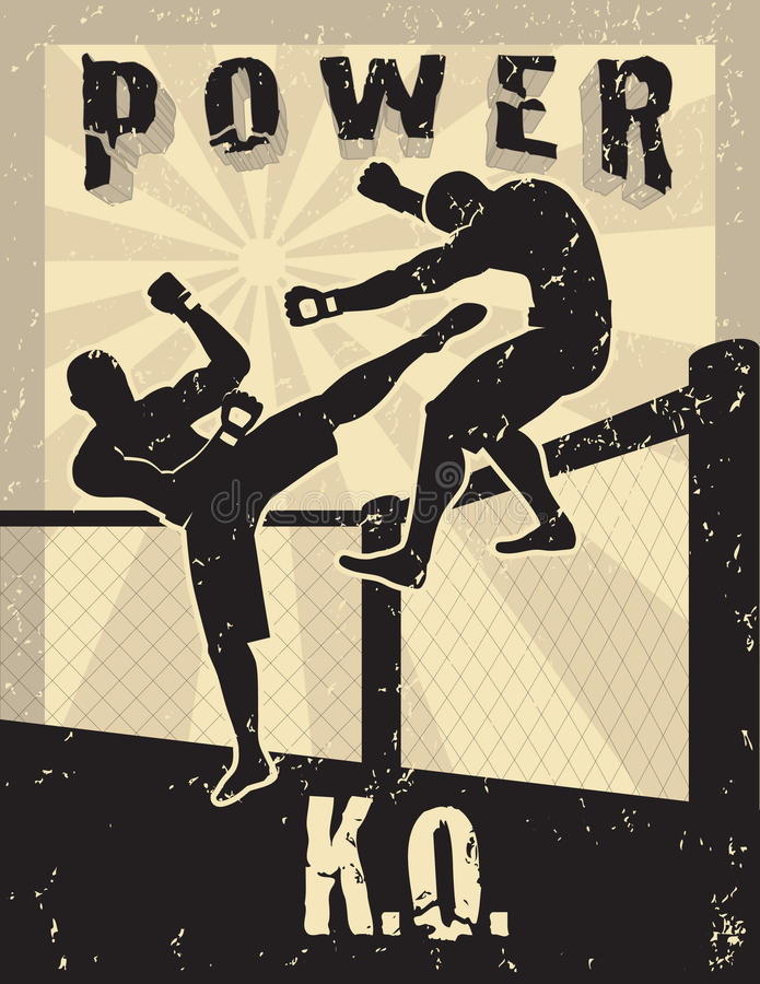 Artes marciais misturadas de MMA ilustração do vetor