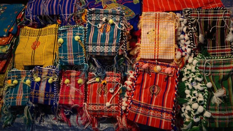 Artes, muchos coloridos del pequeño bolso imagen de archivo