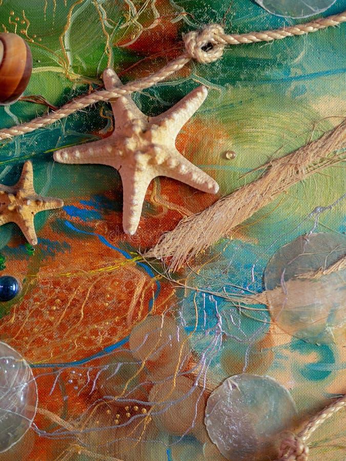 Artesanía en el tema marino fotografía de archivo