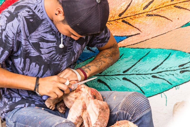 Artesanos de los alebrijes de Oaxaca del mexicano imagen de archivo libre de regalías