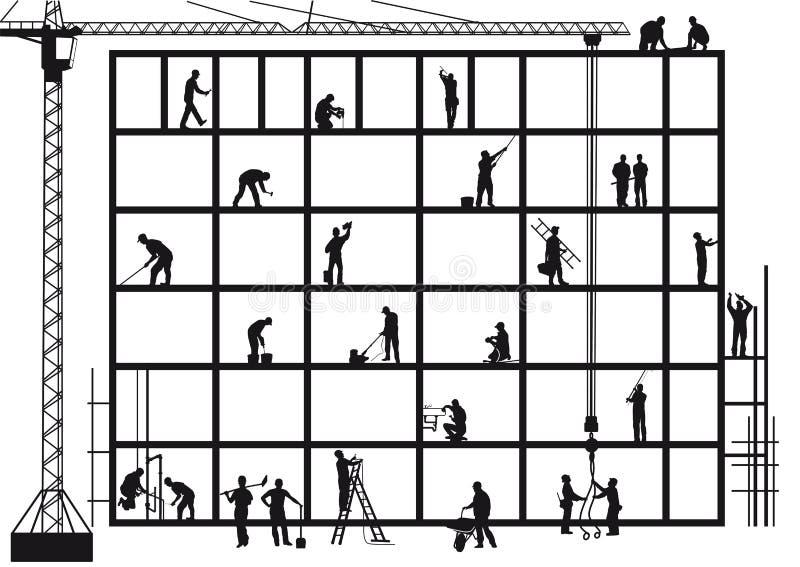 Artesanos en emplazamiento de la obra ilustración del vector