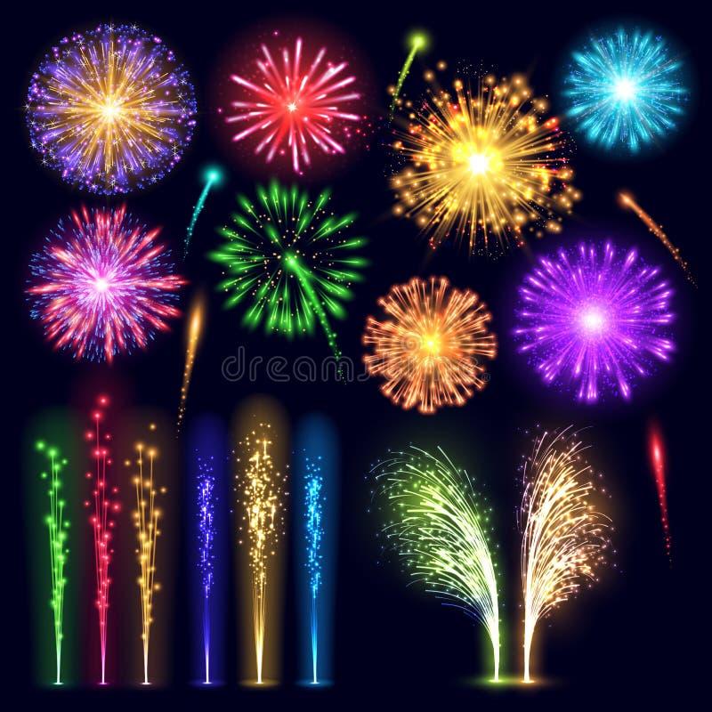 Artfeierfeiertagsereignisnachtexplosionslichtes des Feuerwerks Partei-Vektorillustration des realistischen beleuchtet festliche vektor abbildung