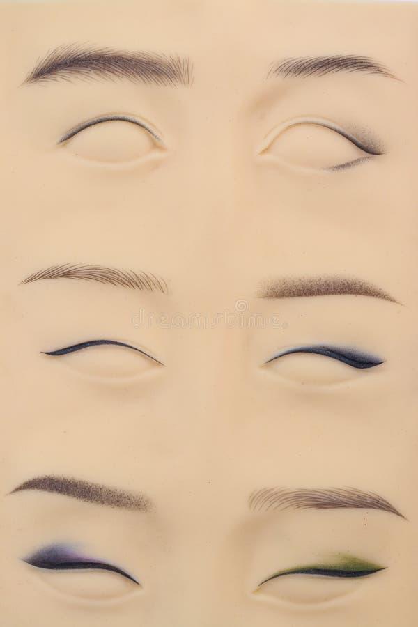 Artficial皮革为micropigmentation实践,特写镜头 库存图片