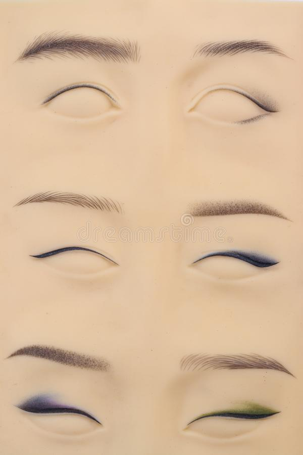 Artficial di cuoio per pratica di micropigmentation, primo piano immagini stock