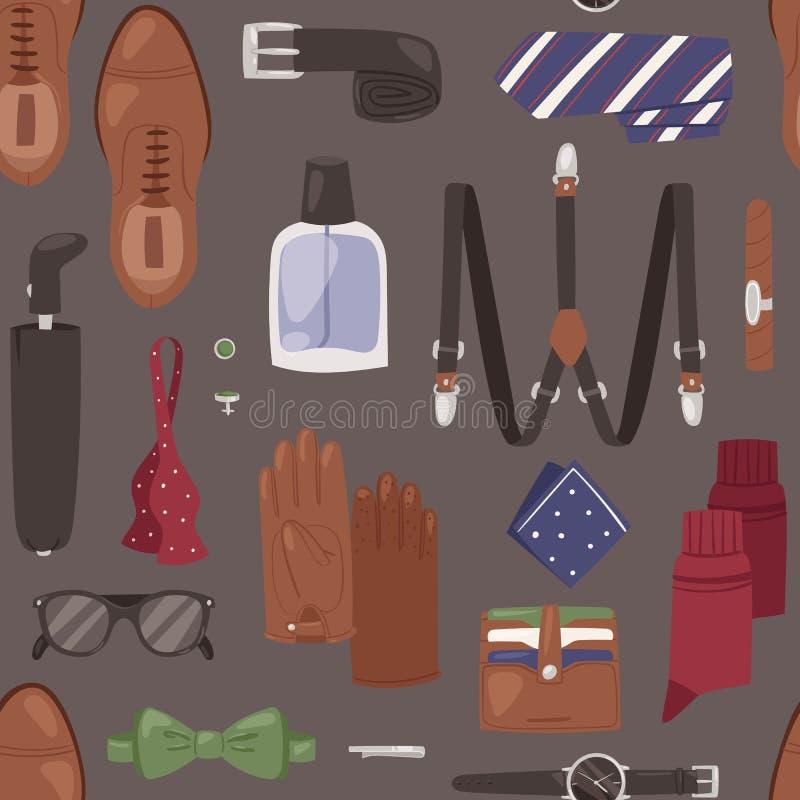 Artherrgeldbörsenuhr- und -gurtillustrationssatz des Mannzubehörvektors binden männlicher männliche Kleidung nahtloses vektor abbildung
