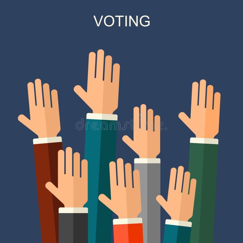 Arthintergrund des Wahl- und Abstimmungskonzeptvektors flacher Illustration für Wahlkampfflieger, -broschüren und -website lizenzfreie abbildung