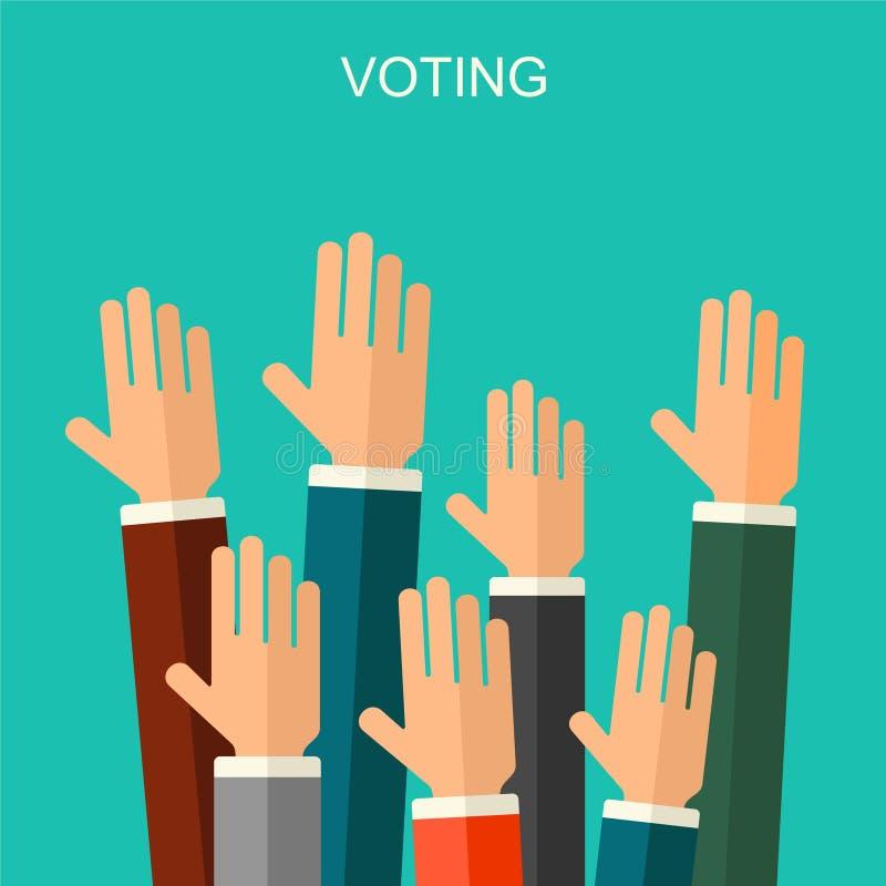 Arthintergrund des Wahl- und Abstimmungskonzeptvektors flacher Illustration für Wahlkampfflieger, -broschüren und -website stock abbildung