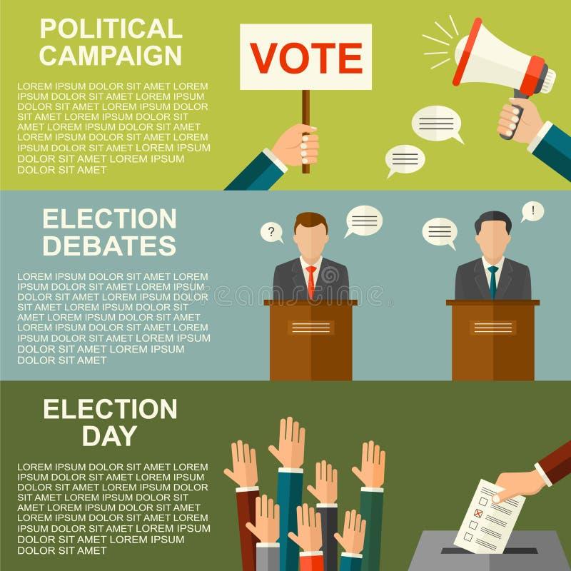 Arthintergrund des Wahl- und Abstimmungskonzeptvektors flacher Illustration für Wahlkampfflieger, -broschüren und -website vektor abbildung