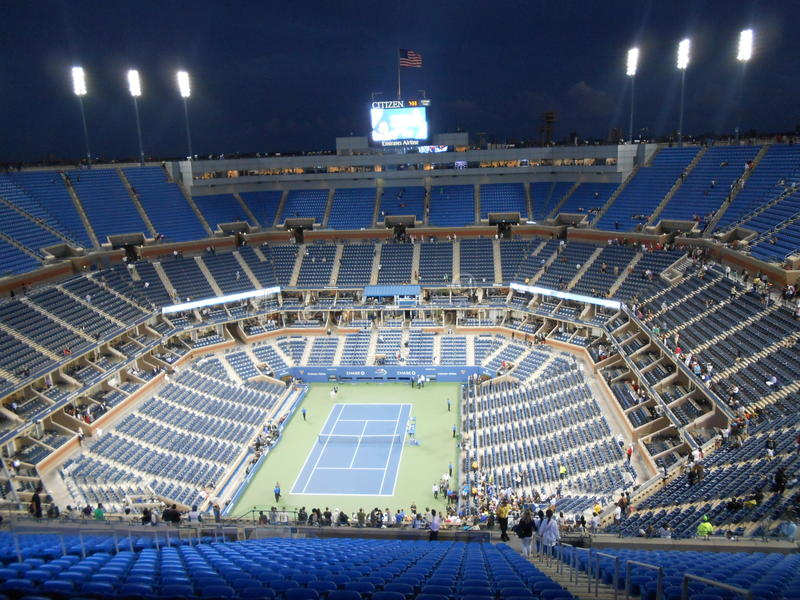 Arthur Ashe Stadium após U S Abra o final 2014 fotografia de stock
