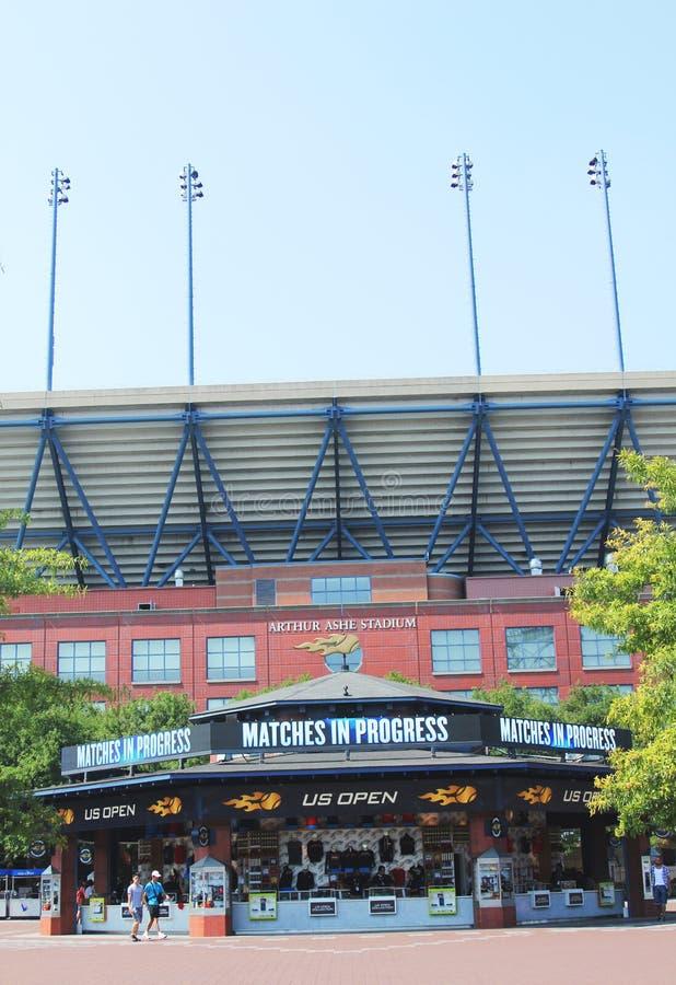 Arthur Ashe Stadium bei Billie Jean King National Tennis Center bereit zum US Open-Turnier stockfotografie