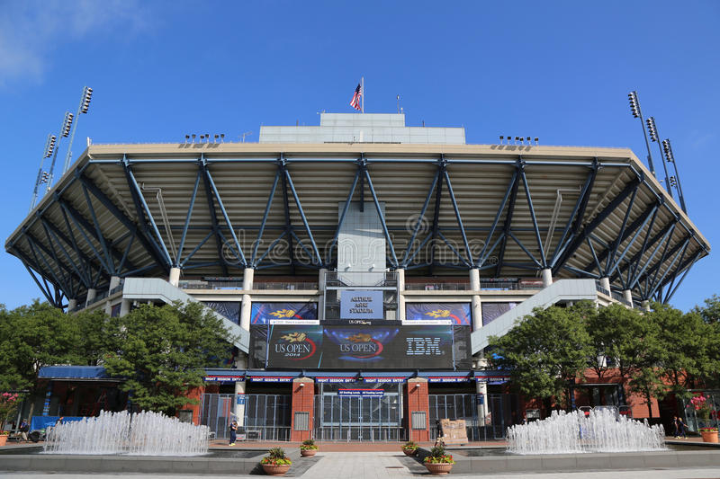 Arthur Ashe Stadium at the Billie Jean King National Tennis Center ready for US Open tournament royalty free stock images