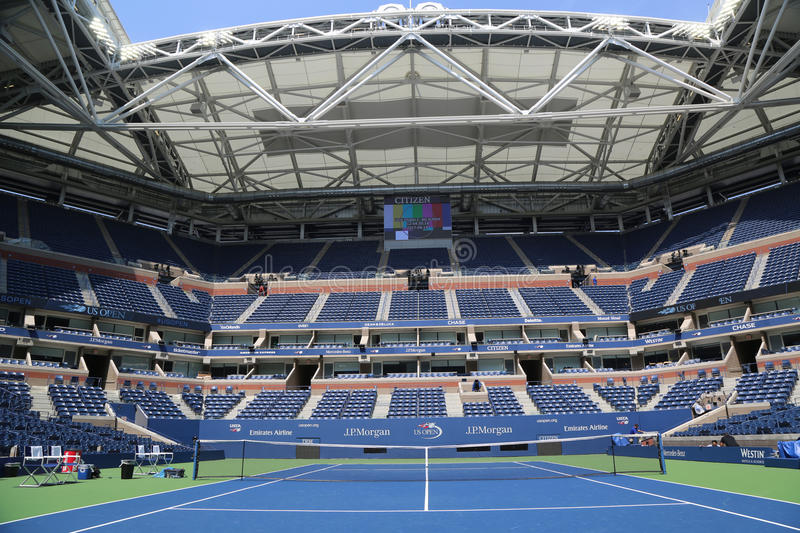 Arthur Ashe Stadium with finished retractable roof at the Billie Jean King National Tennis Center ready for US Open 2017. NEW YORK - AUGUST 22, 2017: Arthur Ashe royalty free stock image