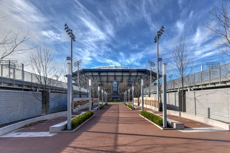 Arthur Ashe Stadium - limpiando con un chorro de agua, Nueva York foto de archivo libre de regalías