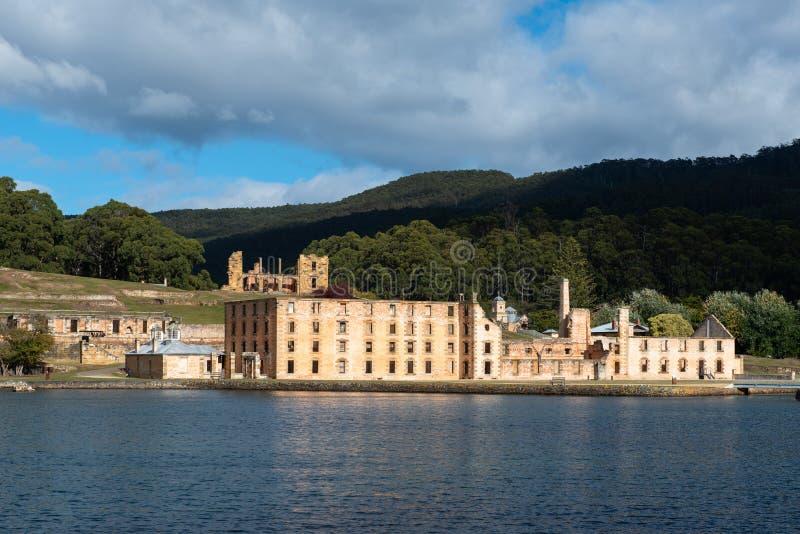 Arthur Historical Convict Settlement portuário, Tasmânia, Austrália foto de stock royalty free