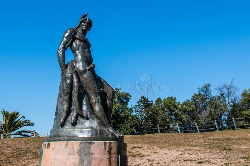 Arthur Putnam Statue `The Indian`. SAN DIEGO, CALIFORNIA - APRIL 1, 2017: Artist Arthur Putnam`s bronze statue `The Indian` located in Presidio Park and royalty free stock photography