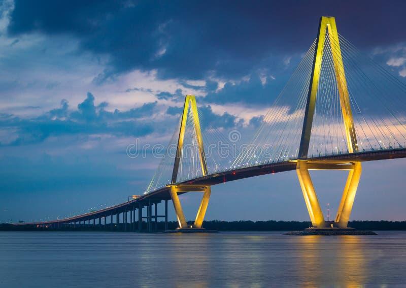 Arthur Ravenel Bridge in Charleston, Zuid-Carolina stock afbeeldingen