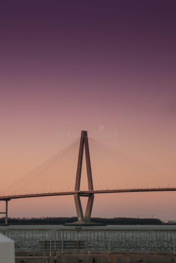 Arthur Ravenel Junior Bridge in Charleston, Zuid-Carolina stock afbeelding