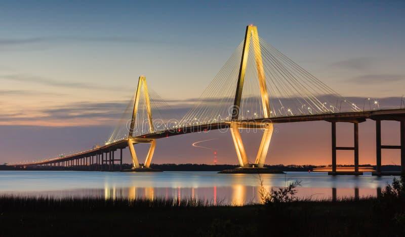 Arthur Ravenel New Cooper River Bridge Charleston SC. Arthur Ravenel Bridge, also known as the new Cooper River Bridge, in Charleston, South Carolina illuminated stock images