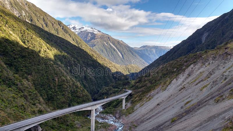 Arthur`s Pass Bridge in New Zealand royalty free stock photography