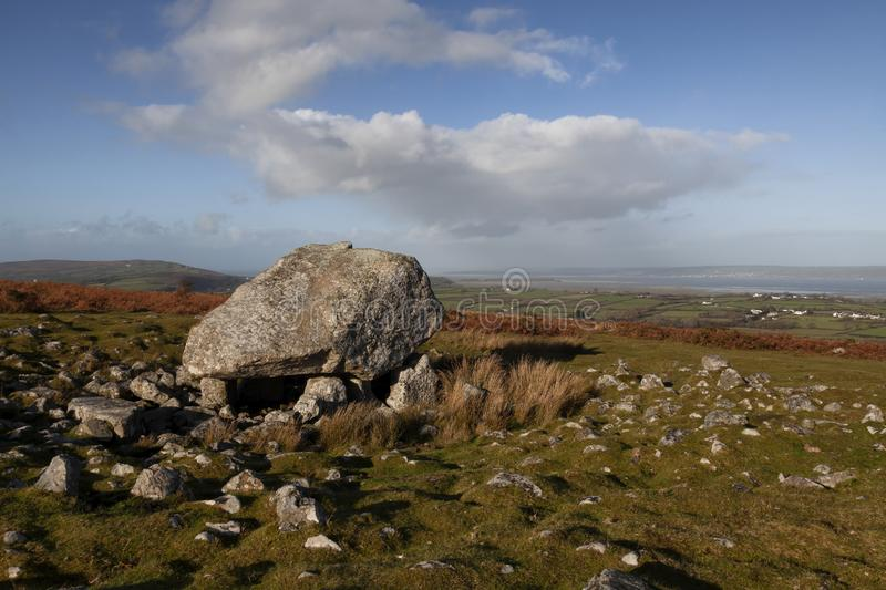 Arthur`s stone on the Gower peninsula. Arthur`s Stone, a Neolithic burial tomb dating back to 2500 B.C. and was one of the first sites to be protected under the stock photo
