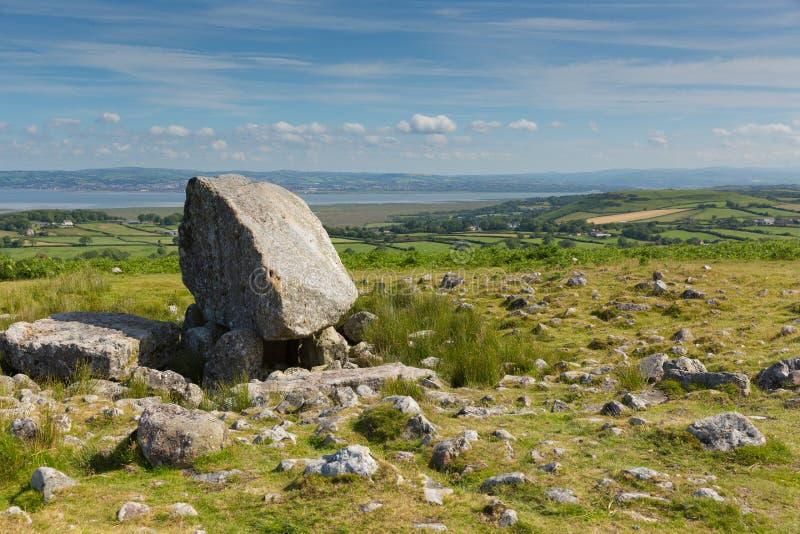 Arthurs miejsce pochówku Cefn Bryn Kamienny neolityczny wzgórze Gower półwysepa południowe walie UK zdjęcia royalty free