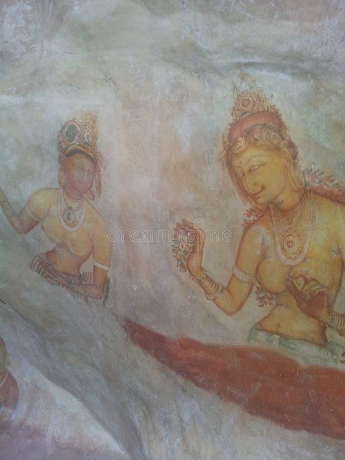 Arti delle donne di Sigiri in parete di sigiri fotografie stock