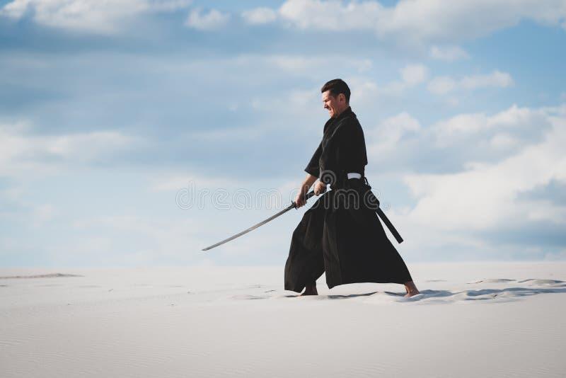 Arti marziali di addestramento dell'uomo in deserto fotografia stock libera da diritti