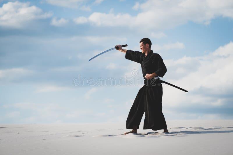 Arti marziali di addestramento dell'uomo in deserto immagini stock