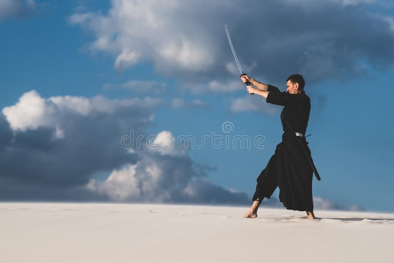 Arti marziali di addestramento dell'uomo in deserto fotografia stock