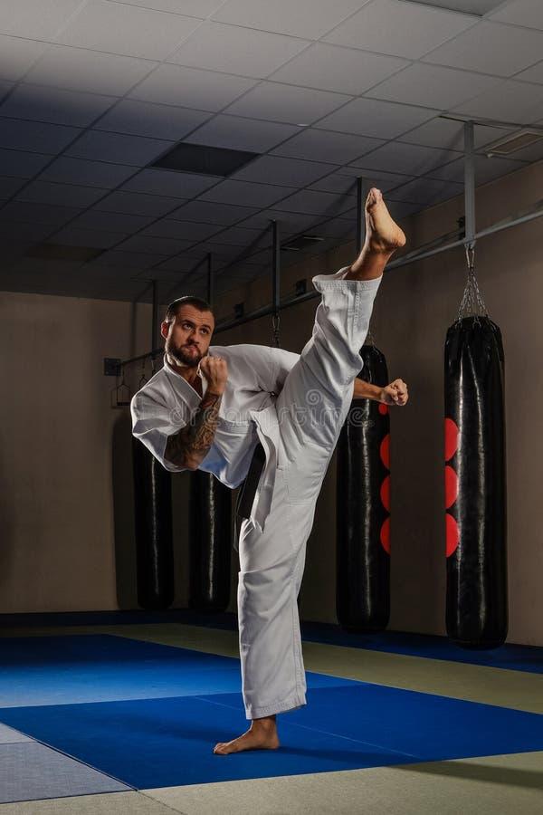 Arti marziali di pratica del combattente di karatè in un club di lotta fotografie stock