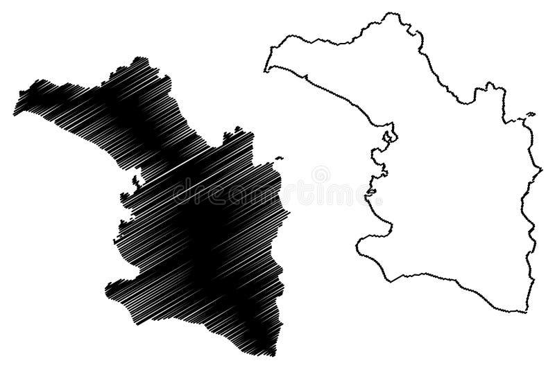 Artibonite-Abteilung Republik von Haiti, Hayti, Hispaniola, Abteilungen der Haiti-Kartenvektorillustration, Gekritzelskizze stock abbildung
